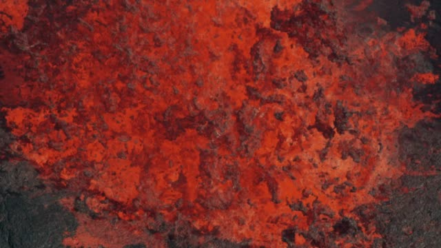 Aerial view fountains of natural red hot lava
