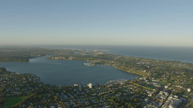 aerial view fremantle cargo port from claremont perth - フリーマントル点の映像素材/bロール