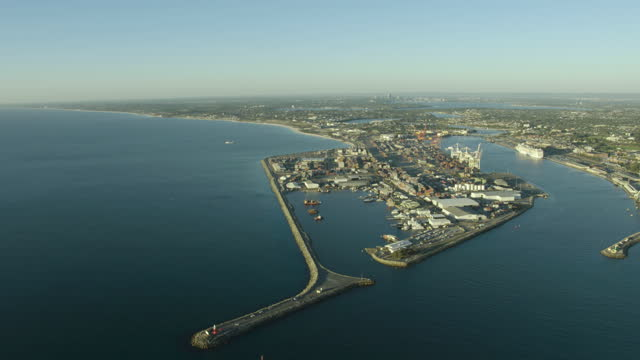 aerial view fremantle harbor cargo port perth wa - anchored stock videos & royalty-free footage