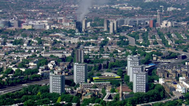 Aerial view from a distance of the Grenfell Tower fire