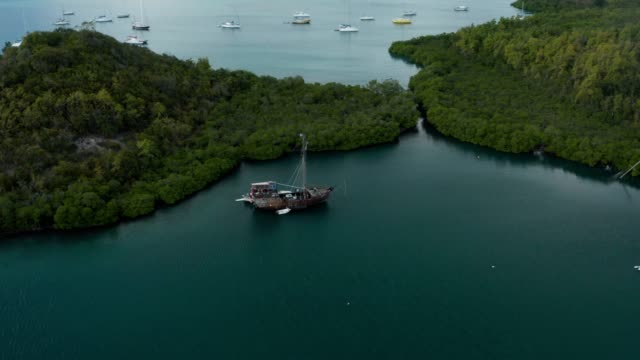 aerial view from a drone over the bay of cyclones in le marin, martinique - french overseas territory stock videos & royalty-free footage