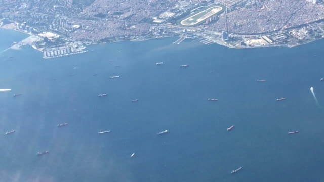 Aerial view from a plane of the Bosphorus, Istanbul