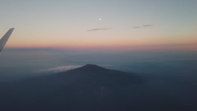 aerial view from airplane on mount chokai in akita prefecture japan - yamagata prefecture stock videos & royalty-free footage