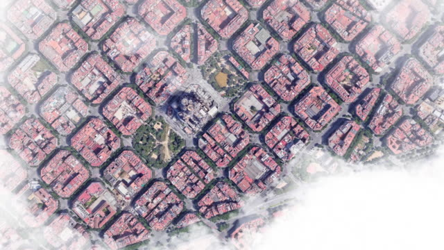 aerial view from barcelona city to planet earth outer space view. - zoom out stock-videos und b-roll-filmmaterial