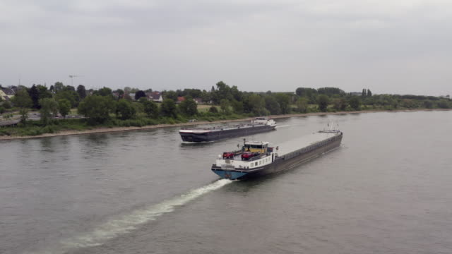 aerial view from barges boats on rhine river - river rhine stock videos & royalty-free footage