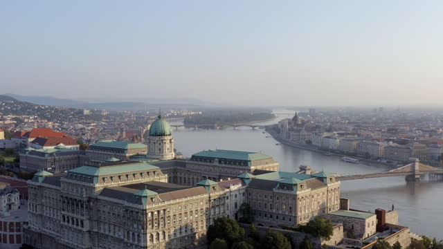 aerial view from buda castle at sunny day - eastern european culture stock videos & royalty-free footage