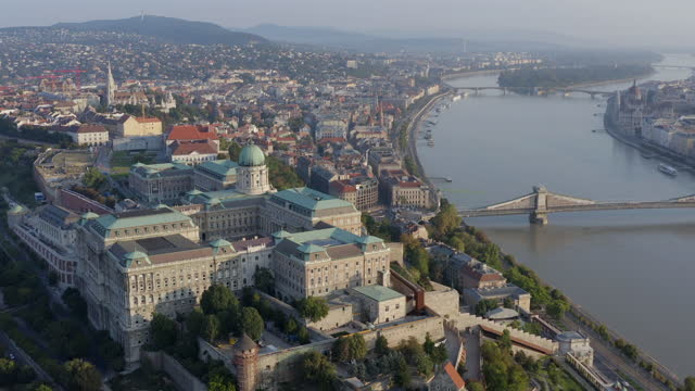 aerial view from buda castle at sunny day - traditionally hungarian stock videos & royalty-free footage
