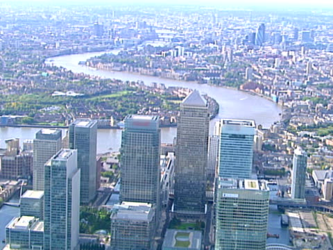 Aerial view from Canary Wharf to London. NTSC, PAL
