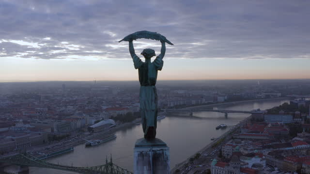 aerial view from citadella statue at sunrise - traditionally hungarian stock videos & royalty-free footage