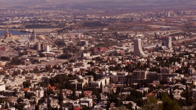 aerial view from haifa - seen from louis promenade - haifa video stock e b–roll
