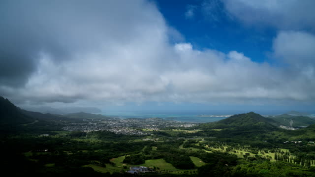 Aerial view from Nu'uanu Pali observatory in Honolulu