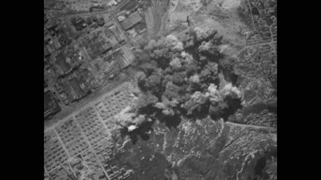aerial view from plane of smoke after bomb explosion in city - 30 seconds or greater stock videos & royalty-free footage