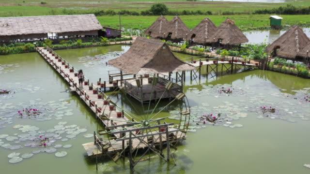 aerial view from restaurant in cambodia - geschichtlich stock-videos und b-roll-filmmaterial