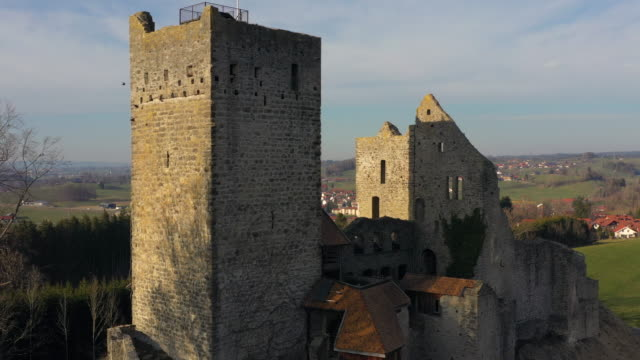 aerial view from ruined castle in germany - monument stock videos & royalty-free footage