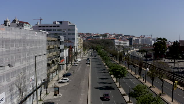 aerial view from the of the streets of lisbon during the pandemic of covid 19 - portugal stock-videos und b-roll-filmmaterial