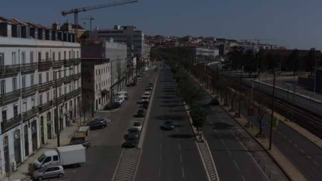 aerial view from the of the streets of lisbon during the pandemic of covid 19 - narrow stock videos & royalty-free footage
