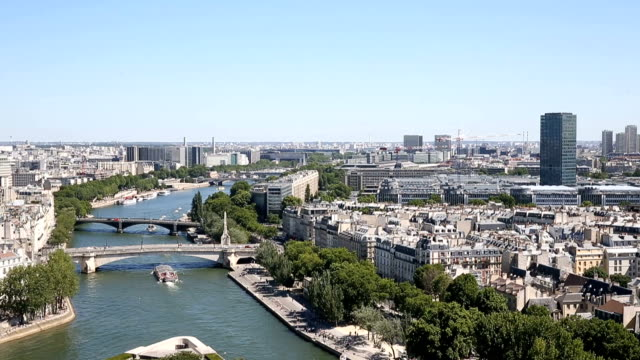 aerial view from the top of notre dame cathedral - arts culture and entertainment stock videos & royalty-free footage