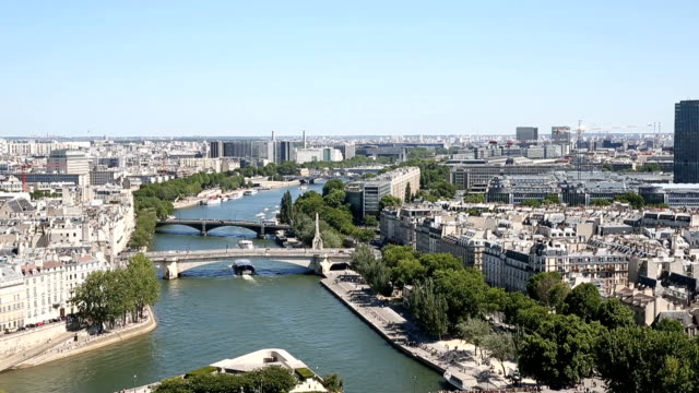 aerial view from the top of notre dame cathedral - river seine stock videos & royalty-free footage