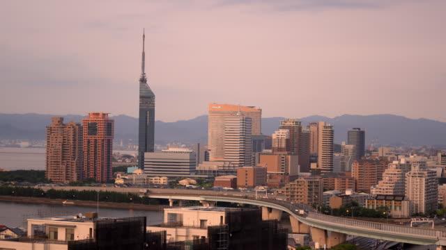 aerial view fukuoka cityscape sunset kyushu south of japan - fukuoka prefecture stock videos & royalty-free footage