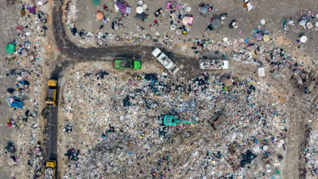 aerial view  garbage mountain - scavenging stock videos & royalty-free footage