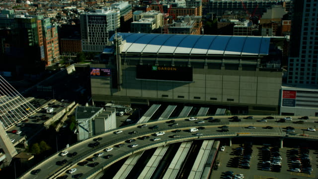 vidéos et rushes de aerial view td garden buildings boston usa - boston massachusetts