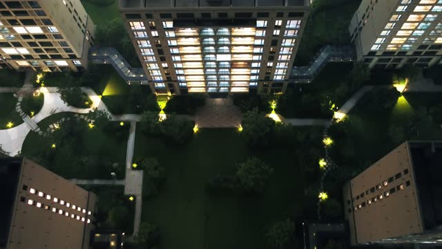 aerial view garden with apartment - facade stock videos & royalty-free footage