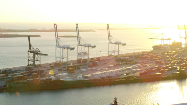 Aerial view Global Ocean shipping container port Miami