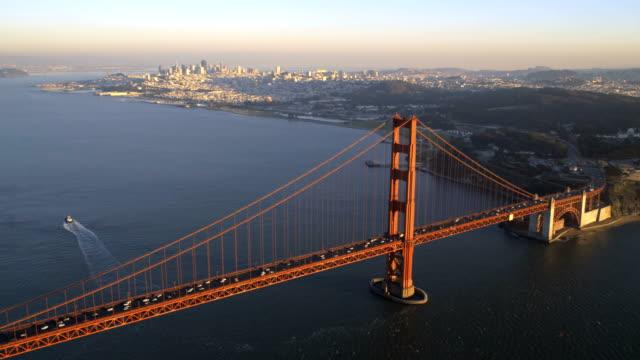 aerial view golden gate bridge san francisco usa - coastline stock videos & royalty-free footage