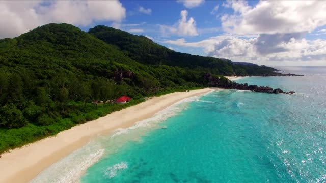 Aerial view: Grand Anse, La Digue Island, Seychelles