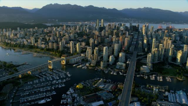 aerial view granville island vancouver british columbia canada - カナダ バンクーバー点の映像素材/bロール