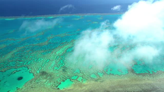 aerial view great barrier reef pacific ocean australia - south pacific ocean stock videos & royalty-free footage