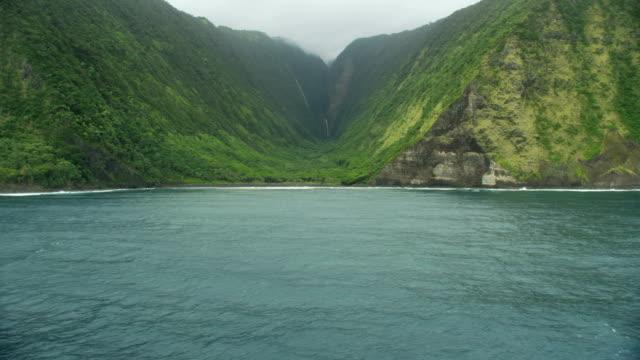 vídeos de stock, filmes e b-roll de aerial view green valley tropical rainforests rock cliffs - jurássico