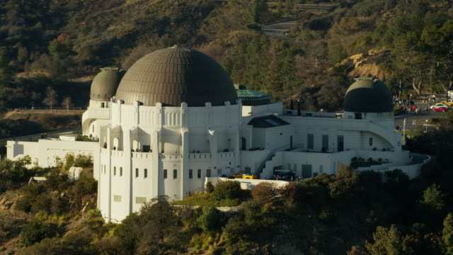 Aerial view Griffith Observatory and Hollywood sign California