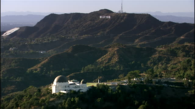 Aerial view Griffith Observatory and Hollywood Sign / Los Angeles, California