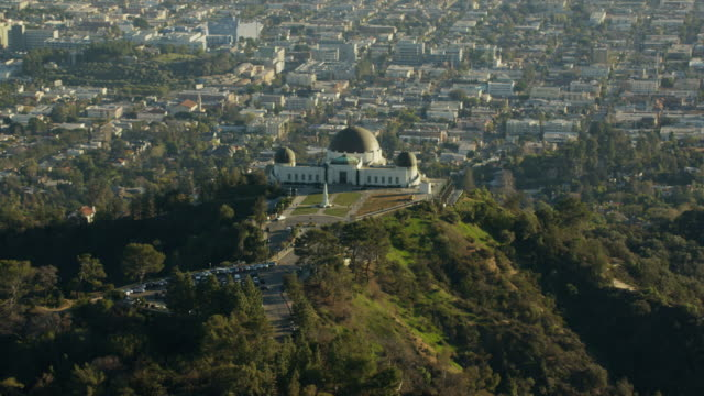 Aerial view Griffith Observatory and Los Angeles suburbs