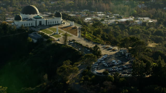 Aerial view Griffith Park Observatory Hollywood Hills California