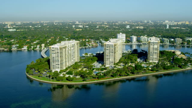 aerial view grove isle hotel biscayne bay florida - biscayne bay stock videos & royalty-free footage