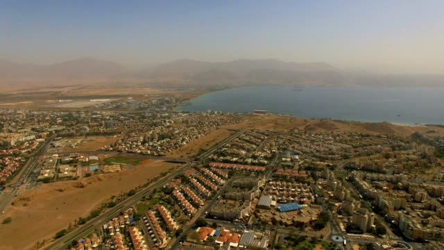 aerial view - gulf of eilat , named also gulf of aqaba-with boats, marina and hotels - gulf of aqaba stock videos & royalty-free footage