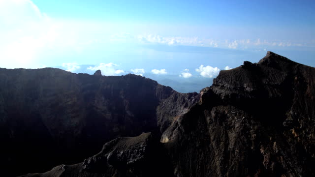 aerial view gunung agung volcano mountain bali indonesia - indonesia volcano stock videos & royalty-free footage