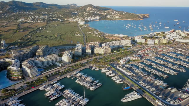 aerial view harbor, waterfront and bay - balearics stock videos & royalty-free footage