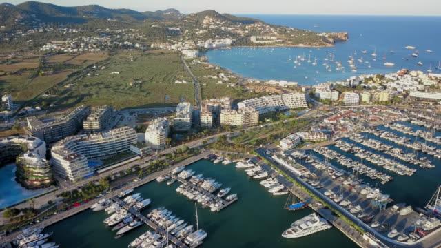 vídeos de stock e filmes b-roll de aerial view harbor, waterfront and bay - marina