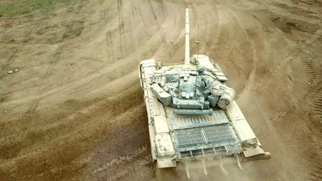 aerial view - heavy tank at maximum speed - tank stock videos & royalty-free footage