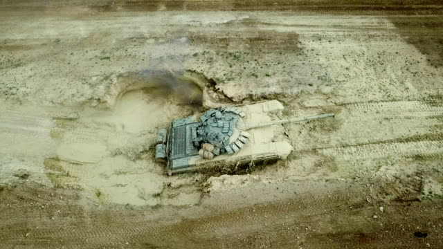aerial view - heavy tank overcomes moat - armored tank stock videos & royalty-free footage