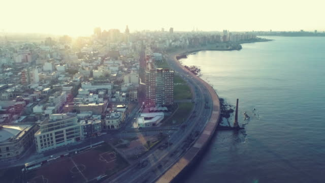 aerial view, high angle view, ciudad vieja neighbourhood, montevideo's coastline, uruguay - montevideo stock videos & royalty-free footage