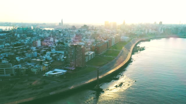 aerial view, high angle view, ciudad vieja neighbourhood, montevideo's coastline, uruguay - モンテビデオ点の映像素材/bロール