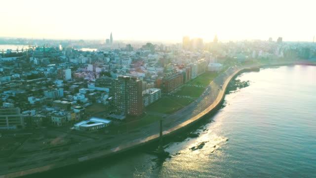 aerial view, high angle view, ciudad vieja neighbourhood, montevideo's coastline, uruguay - sedative stock videos & royalty-free footage