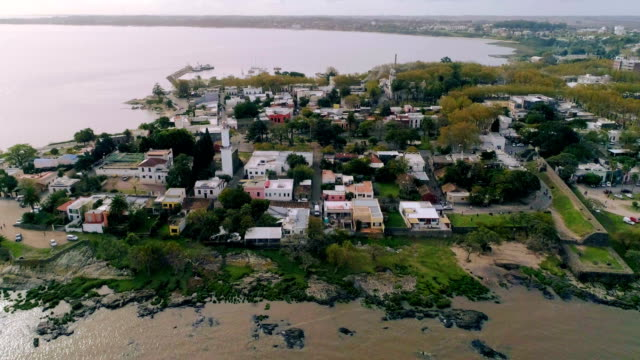 vidéos et rushes de aerial view, high angle view, colonia del sacramento city, uruguay - unesco