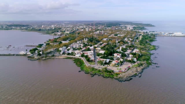 aerial view, high angle view, colonia del sacramento, uruguay - uruguay video stock e b–roll