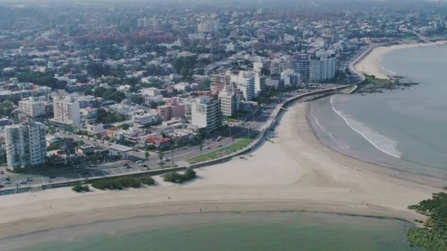 aerial view, high angle view, malvin beach and neighbourhood, montevideo's coastline, uruguay - montevideo stock-videos und b-roll-filmmaterial