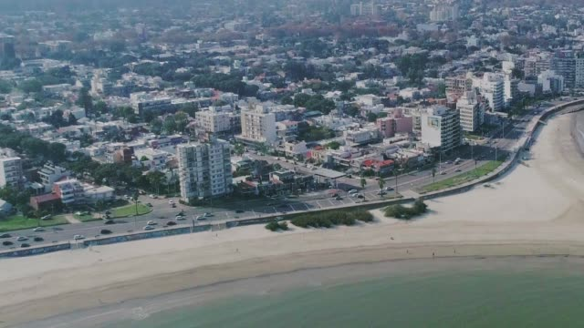 aerial view, high angle view, malvin beach and neighbourhood, montevideo's coastline, uruguay - montevideo stock videos & royalty-free footage